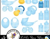 INSTANT DOWNLOAD Little Boy Blue with 15 digital graphics for annoucements baby shower carriage ducky bottle pacifier binky bib blue gingham