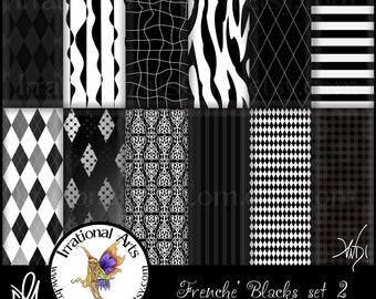 Frenche' Black and White set 2 INSTANT DOWNLOAD 12 Digital Scrapbooking Papers