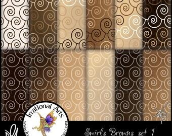 INSTANT DOWNLOAD Swirls Browns set 1 Digital Scrapbooking Papers 12 jpg files 300dpi