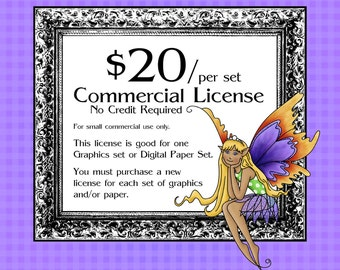 Commercial License No Credit Required for Graphics/Clip Art set for small commercial use only