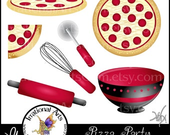 Pizza Party set of 7 Pepperoni Pizza Party Graphics - 3 pizzas rolling pin pizza cutter and mixing bowl in RED clip art