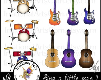 Sing a Little Song musical instruments digital graphics clipart - electric & acoustic guitar, drum kit {Instant Download}