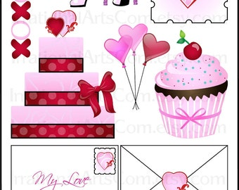 Love Letters 1 digital collage sheet INSTANT DOWNLOAD jpg and png files Pink & RED Valentine's Day Theme