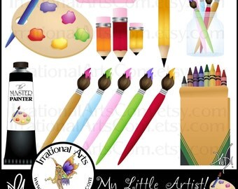 My Little Artist - digital clipart graphics of art supplies like paint palette, crayons, pencils, paintbrush {Instant Download}