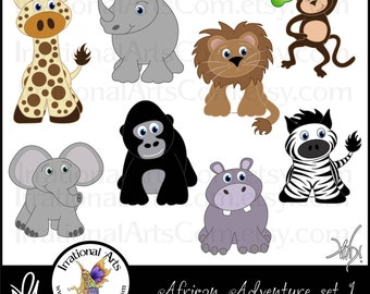 African Adventures set 1 - 8 digital clipart graphics - giraffe monkey gorilla zebra elephant rhino hippo lion {Instant Download}