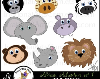 African Adventures Faces set 1 - 8 animals - giraffe monkey gorilla zebra elephant hippo lion [INSTANT DOWNLOAD]