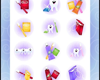 "Happy Teeth 1"" bottlecap collage - 2 sheets of 4""x6"" of smiling teeth, toothbrushes, toothpaste, & floss {Instant Download}"
