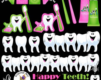 Happy Teeth graphics set 2 - dentist clipart graphics of smiling teeth, toothbrushes, toothpaste, floss {Instant Download}