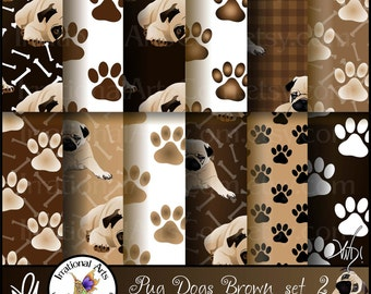 Pug Dog Browns set 2 - with 12 digital papers - pug dogs, paw prints, dog bones, and plaids [INSTANT DOWNLOAD]