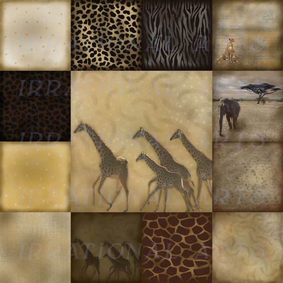 Vintage Serengheti Collection of  24 Digital Scrapbooking Papers