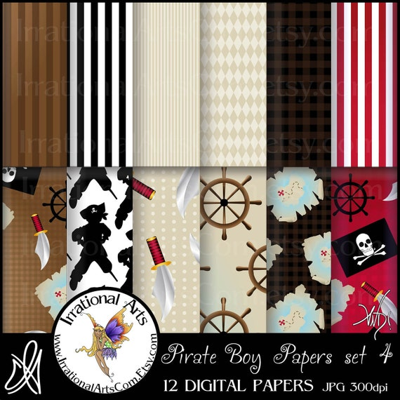 Pirate Boy You ARRGg Going to Walk the Plank set 4 - 12 JPG digital files of Scrapbooking Papers [ INSTANT DOWNLOAD ]