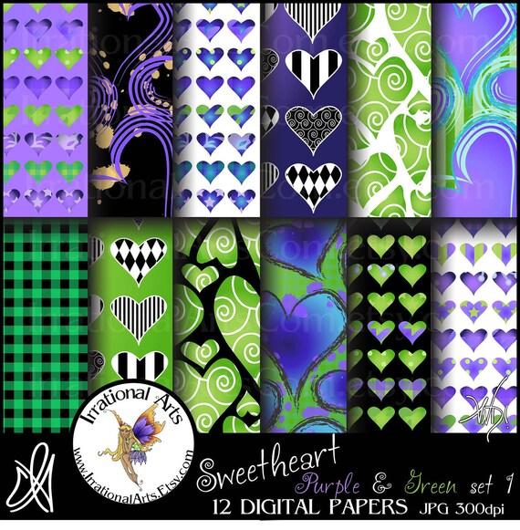 Sweetheart Purple & Green set 1 - Digital Scrapbooking Papers - 12 jpg files 300dpi {Instant Download}