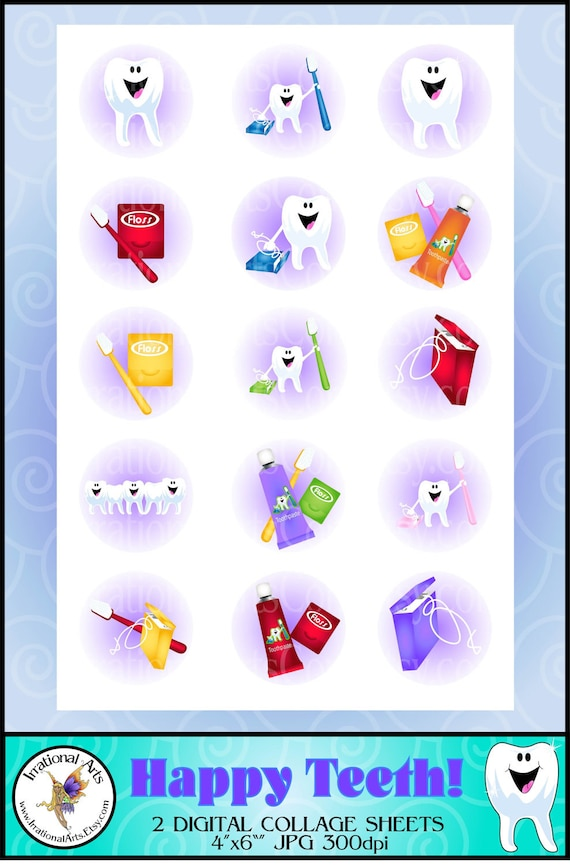 """Happy Teeth 1"""" bottlecap collage - 2 sheets of 4""""x6"""" of smiling teeth, toothbrushes, toothpaste, & floss {Instant Download}"""