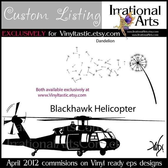 Custom Listing for Vinyltastic VINYL ready digital EPS files BiPlane 4 Engine Plane Dogs Giraffe Safari Dandelions BlackHawk Chopper