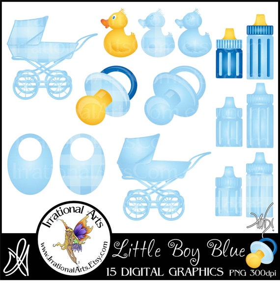 Little Boy Blue with 15 digital graphics for announcements baby shower carriage ducky bottle pacifier binky bib gingham {Instant Download}