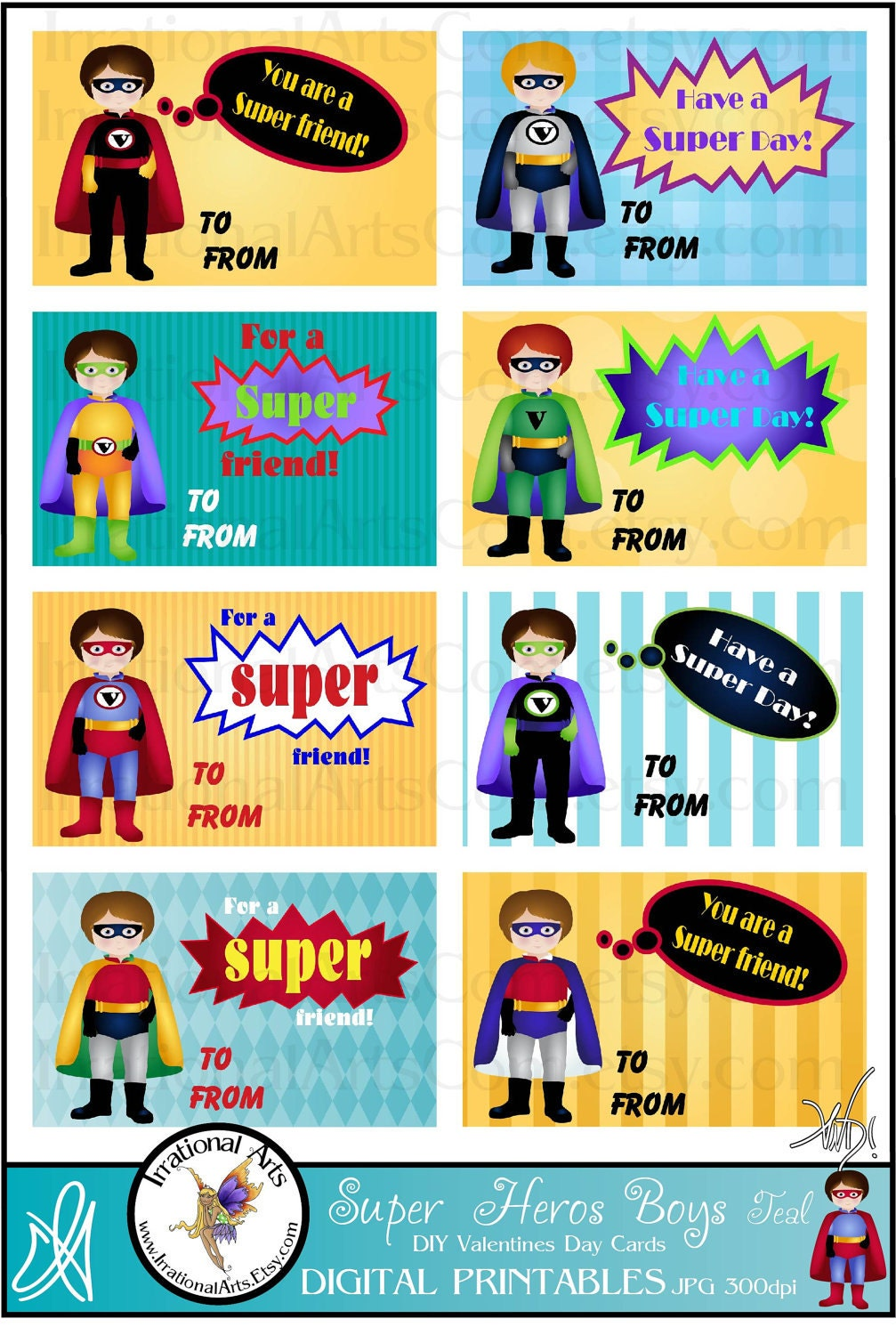 super hero boys valentines day cards for kids exchange