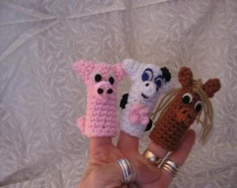 Barnyard Finger Puppets Crochet Pattern