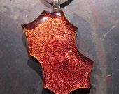 Fused glass pendant: WHAM