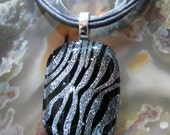 Fused Glass Pendant and ribbon necklace: Fantastic Zebra