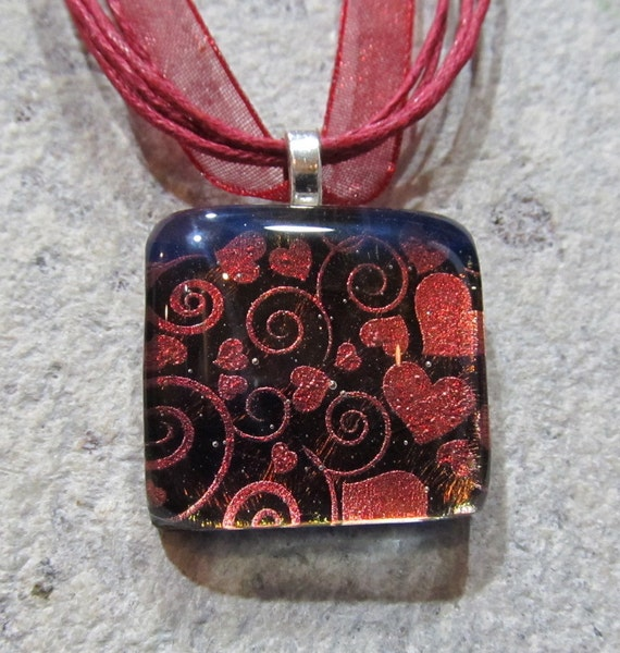 Fused Glass Pendant with ribbon necklace SALE: Mine