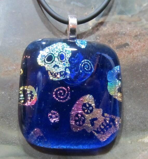 Fused Glass Pendant: Sugar Skulls
