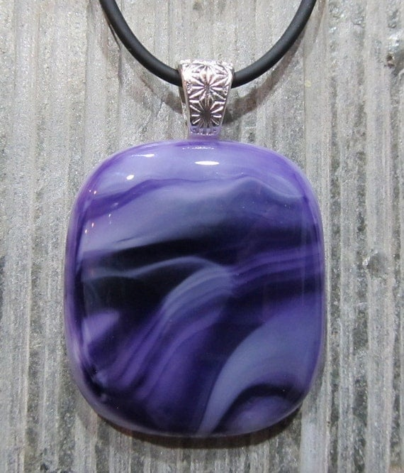 Fused Glass Pendant: Purple Waves