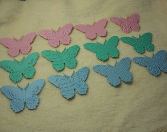 12 Piece Set of Lovely Pastel Embossed Paper Butterfly Scrapbook Embellishments
