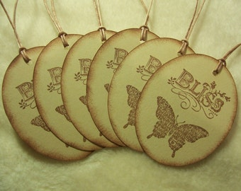 Scrapbook Tags...6 Piece Set of Beautiful Butterfly Bliss Vintage Inspired Tags