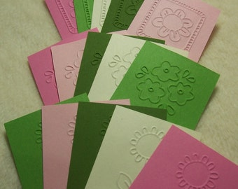 Embossed Tags...20 Piece Set of Very Pretty Spring Flowers Embossed Scrapbooking Tags