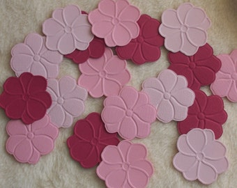 Paper Flowers...18 Piece Set of Very Pretty Pink Embossed Paper Flower Scrapbook Embellishments
