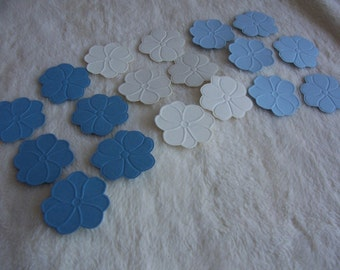 18 Piece Set of Very Pretty Blue/Creme Embossed Paper Flower Scrapbook Embellishments