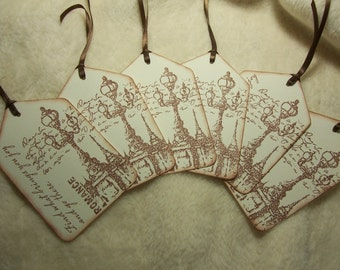 6 Piece Set of Very Romantic Lamp Post in Paris Vintage Inspired Scrapbooking Tags