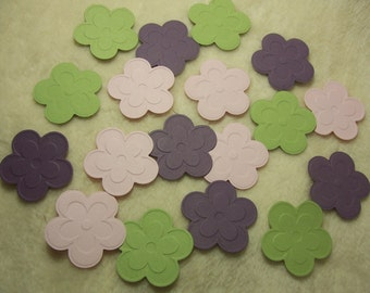 Paper Flowers...18 Piece Set of Very Cute Cherry Blossom Embossed Flower Scrapbook Embellishments