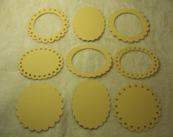 9 Piece Set of Very Pretty Dots and Scallop Border Scrapbook Frames and Photo Mats
