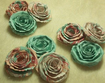 Scrapbook Flowers...9 Piece Set of Very Sweet and Dainty Teal and Smoothie Scrapbook Paper Roses