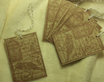 6 Piece Set of Very Lovely Bird Song Vintage Inspired Image Tags