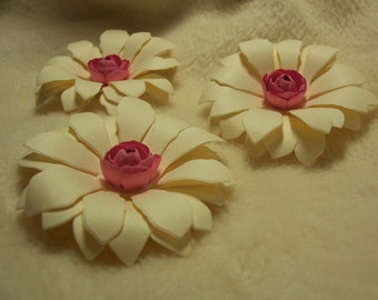 Scrapbook Flowers...3 Piece Set of Very Pretty Strawberry Cream Puffy Daisy Handmade Paper Scrapbook Flowers