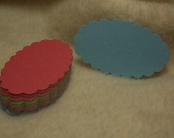 40 Piece Set of Very Pretty Celebration Oval Scallop Scrapbook Tags