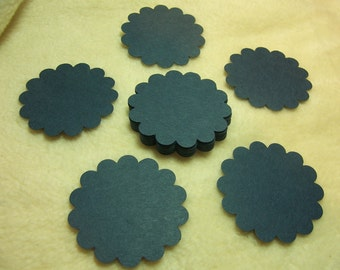 Round Scallop Tags...24 Piece Set of Heritage Navy Blue Round Scallop Scrapbook Tags