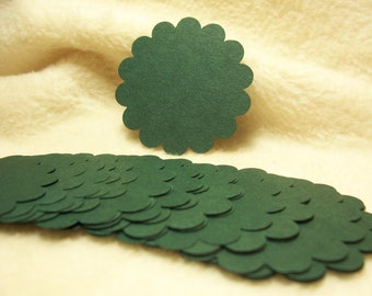 Round Scallop Tags...24 Piece Set of Heritage Pine Green Round Scallop Scrapbook Tags