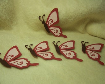 Paper Butterflies...5 Piece Set of Very Sweet  Butterfly with Flourish Paper Pieced Scrapbooking Embellishments