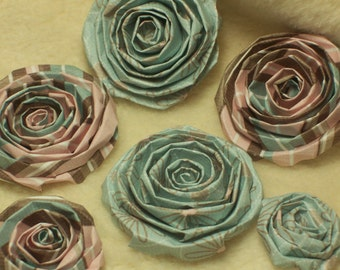 Scrapbook Flowers...6 Piece Set of Very Pretty Scrapbook Paper Flower Rolled Roses