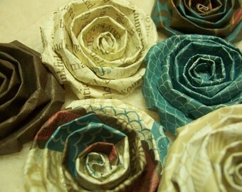 Scrapbook Flowers...6 Piece Set of Very Shabby Chic Scrapbook Rolled Paper Flower Roses