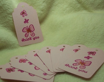 8 Piece Set of So Adorable Butterfly Trio Thank You Scrapbooking Hang Tags