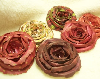 Scrapbook Flowers...6 Piece Set of Very Shabby Chic  Autumn Harvest Scrapbook Paper Flower Rolled Roses