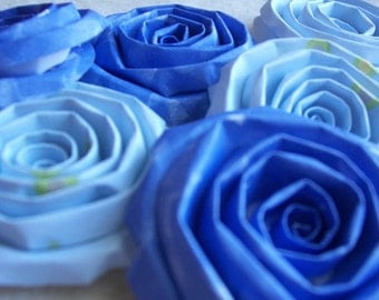 Scrapbook Flowers...6 Piece Set of So Adorable Baby Blue Scrapbook Paper Flower Rolled Roses