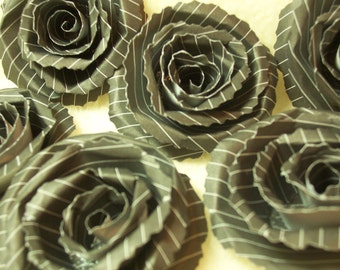 Paper Flowers...6 Piece Set of Very Classic and Elegant Pinstripe Black Scrapbook Paper Flower Rolled Roses