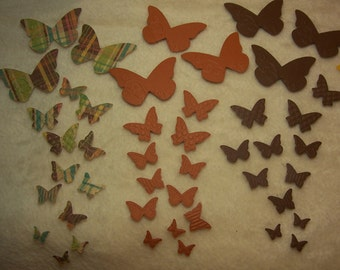 Paper Butterflies...90 Piece Set of Very Lovely Wings Paper Butterfly Migration Embossed Scrapbook Embellishments