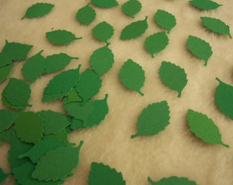 Paper Leaves...100 Piece Set of Very Pretty Green Paper Leaves Scrapbook Embellishments