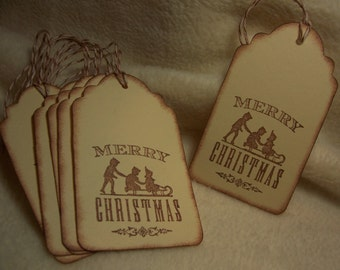 Scrapbook Tags ...6 Piece Set of Very Serene Christmas Snow Scene Vintage Inspired Scrapbooking/Gift Tags